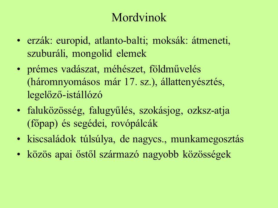 Mordvinok erzák: europid, atlanto-balti; moksák: átmeneti, szuburáli, mongolid elemek.