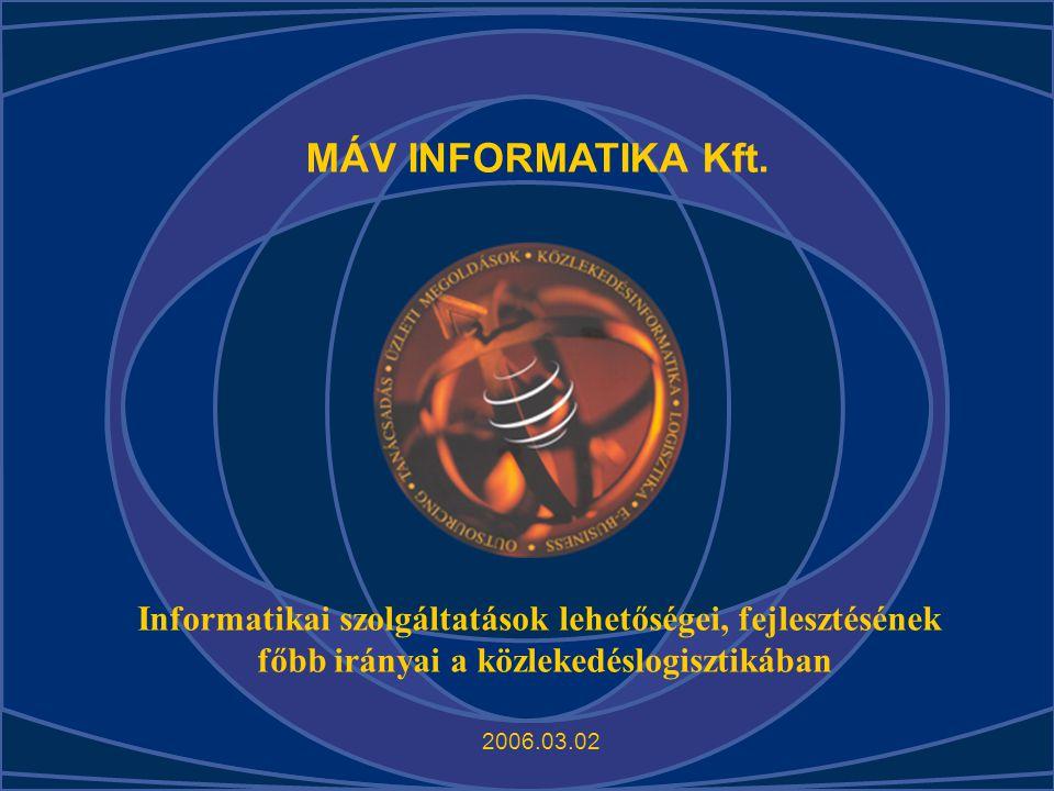 MÁV INFORMATIKA Kft. Informatikai szolgáltatások lehetőségei, fejlesztésének. főbb irányai a közlekedéslogisztikában.