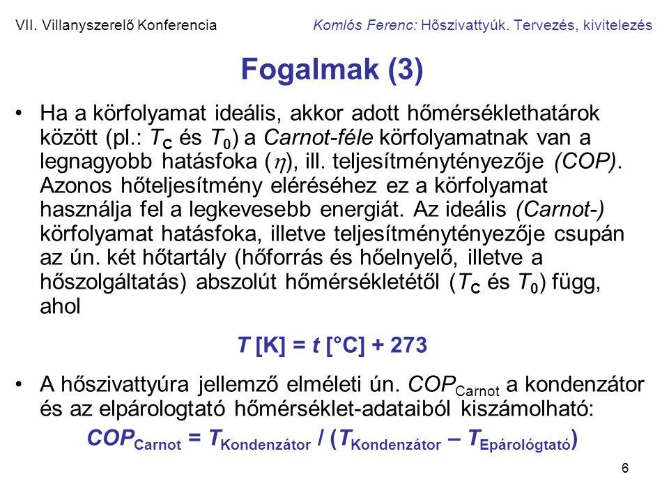 COPCarnot = TKondenzátor / (TKondenzátor – TEpárológtató)
