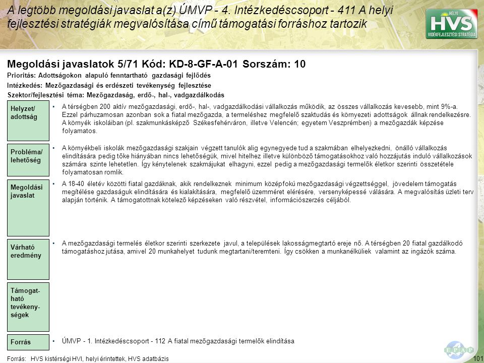 Megoldási javaslatok 5/71 Kód: KD-8-GF-A-01 Sorszám: 10