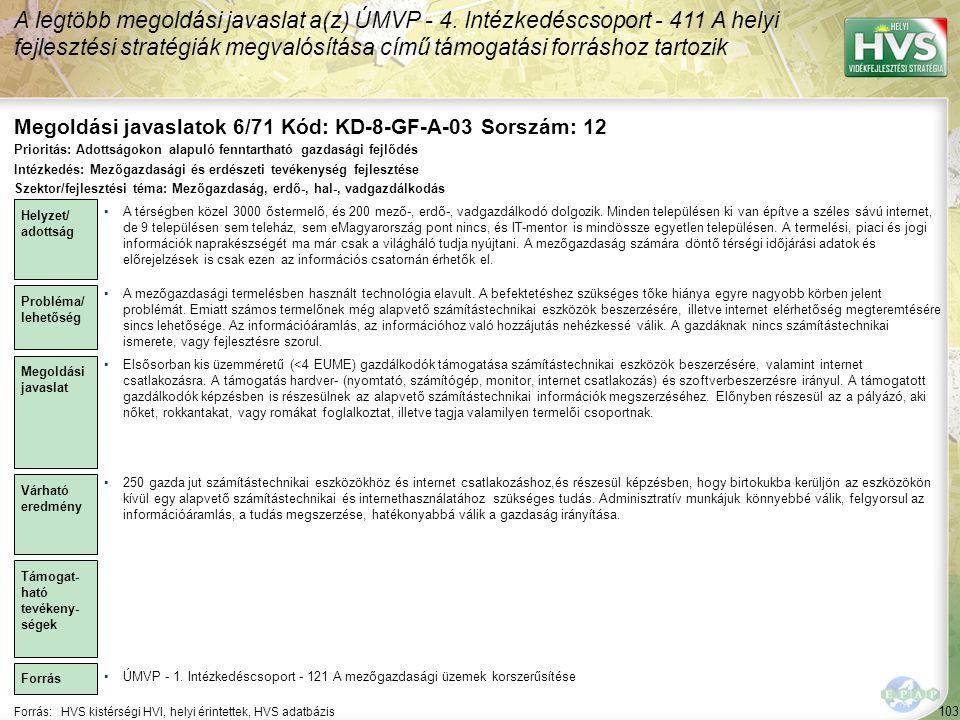 Megoldási javaslatok 6/71 Kód: KD-8-GF-A-03 Sorszám: 12