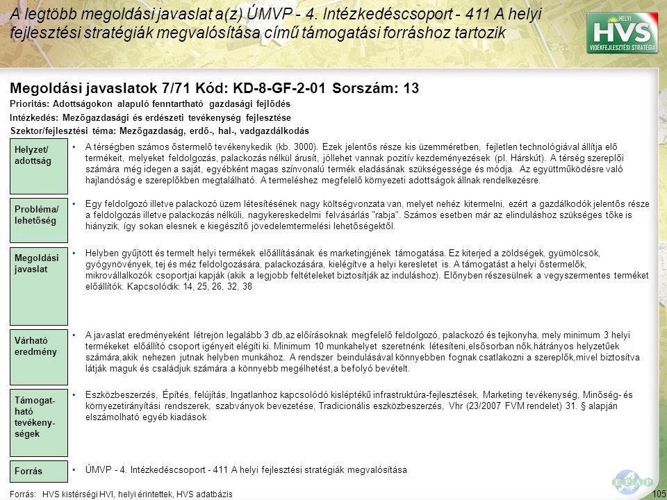 Megoldási javaslatok 7/71 Kód: KD-8-GF-2-01 Sorszám: 13