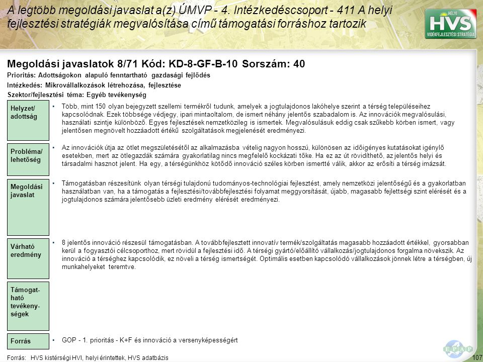 Megoldási javaslatok 8/71 Kód: KD-8-GF-B-10 Sorszám: 40