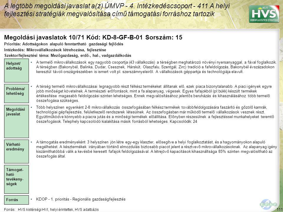Megoldási javaslatok 10/71 Kód: KD-8-GF-B-01 Sorszám: 15