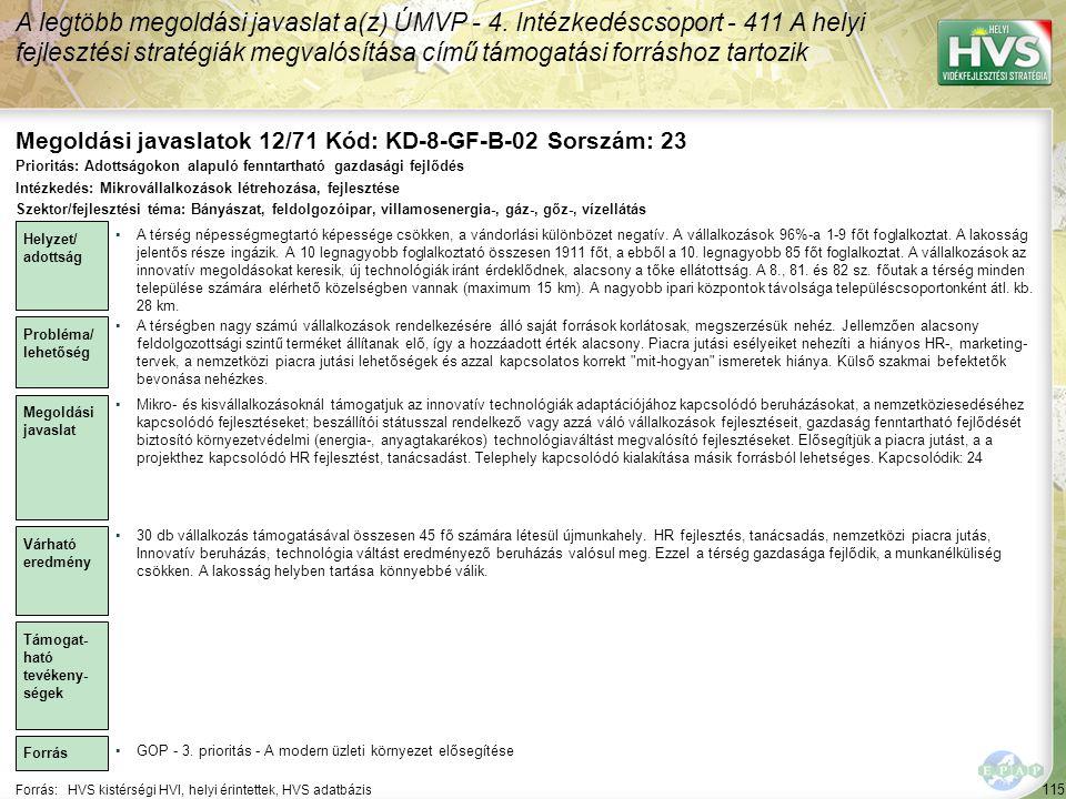 Megoldási javaslatok 12/71 Kód: KD-8-GF-B-02 Sorszám: 23