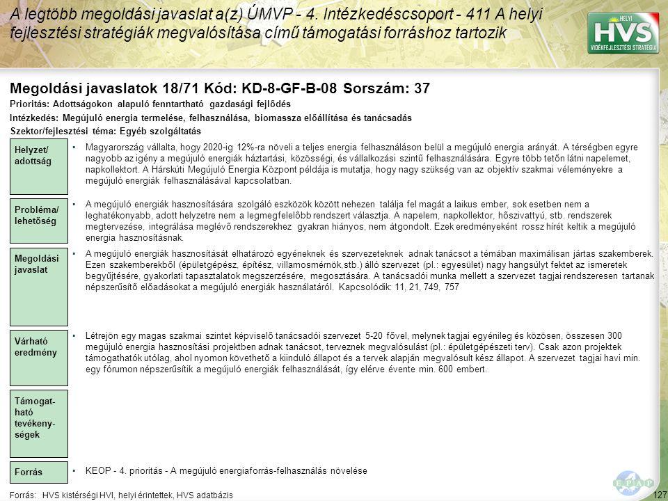 Megoldási javaslatok 18/71 Kód: KD-8-GF-B-08 Sorszám: 37