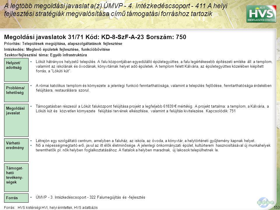Megoldási javaslatok 31/71 Kód: KD-8-SzF-A-23 Sorszám: 750