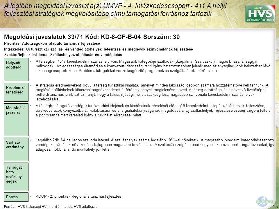 Megoldási javaslatok 33/71 Kód: KD-8-GF-B-04 Sorszám: 30