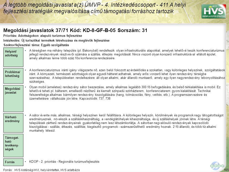 Megoldási javaslatok 37/71 Kód: KD-8-GF-B-05 Sorszám: 31