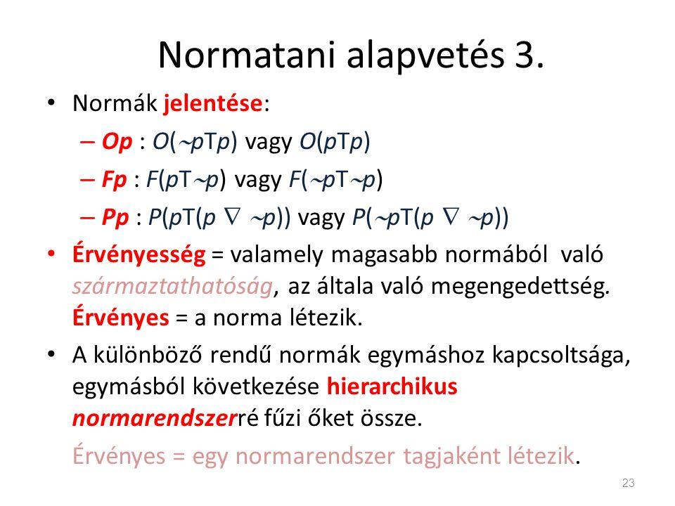 Normatani alapvetés 3. Normák jelentése: Op : O(pTp) vagy O(pTp)