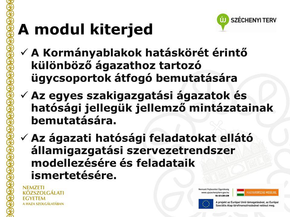 Oktatói kézikönyv A modul kiterjed. A Kormányablakok hatáskörét érintő különböző ágazathoz tartozó ügycsoportok átfogó bemutatására.