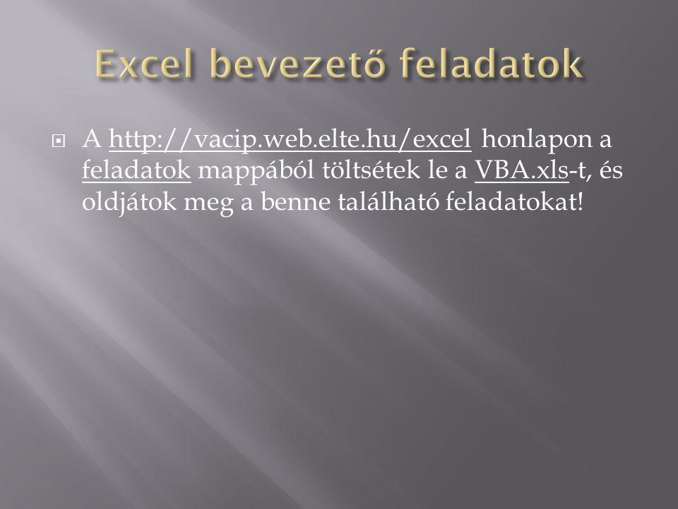 Excel bevezető feladatok