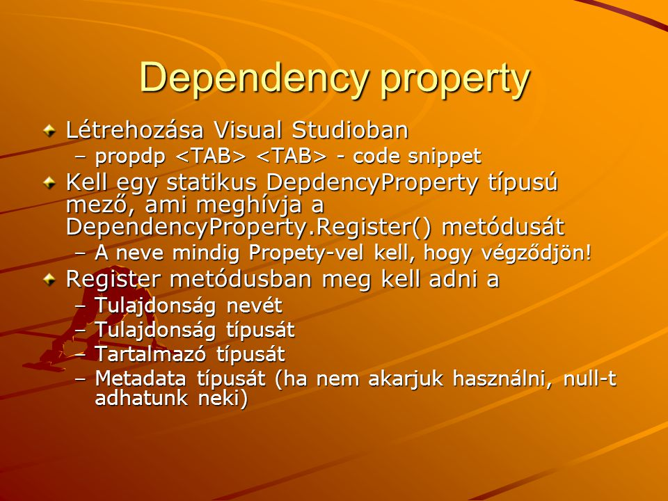 Dependency property Létrehozása Visual Studioban