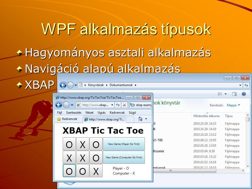 WPF alkalmazás típusok