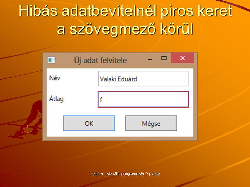Hibás adatbevitelnél piros keret a szövegmező körül