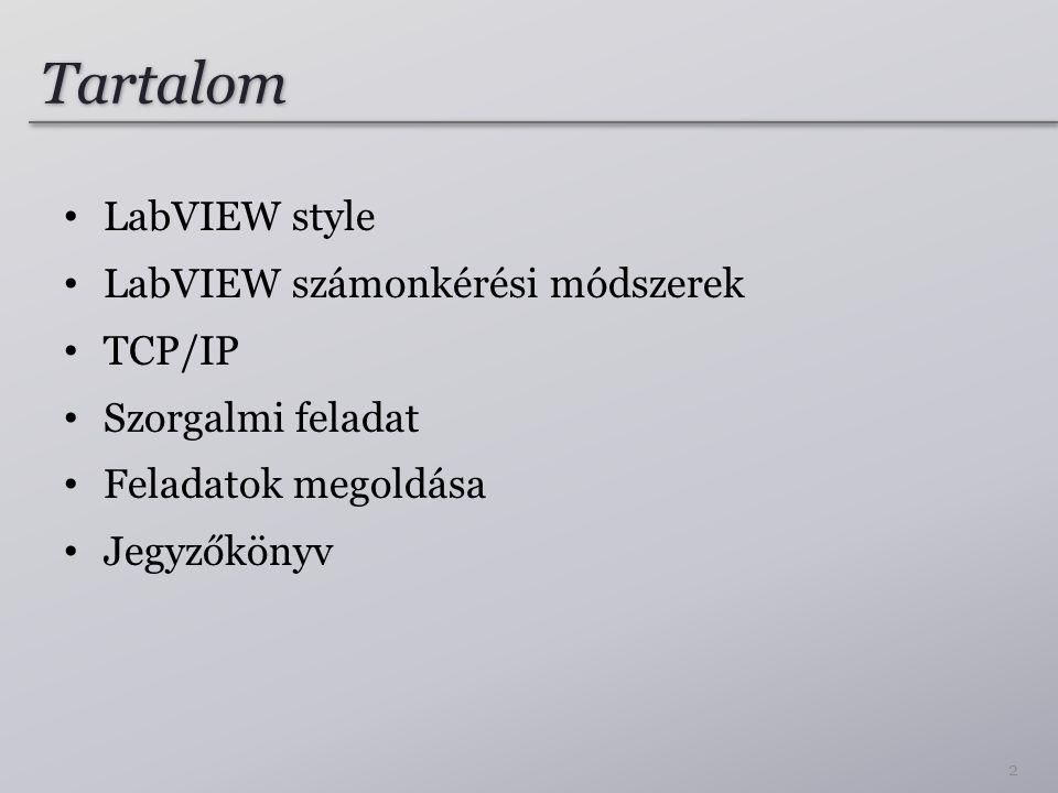 Tartalom LabVIEW style LabVIEW számonkérési módszerek TCP/IP