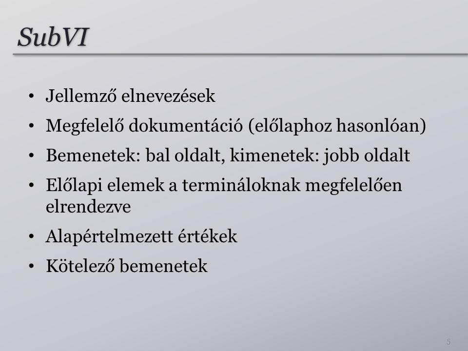 SubVI Jellemző elnevezések