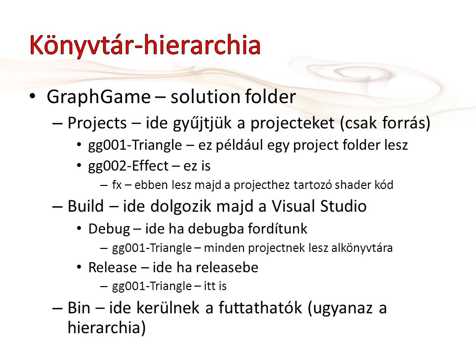 Könyvtár-hierarchia GraphGame – solution folder