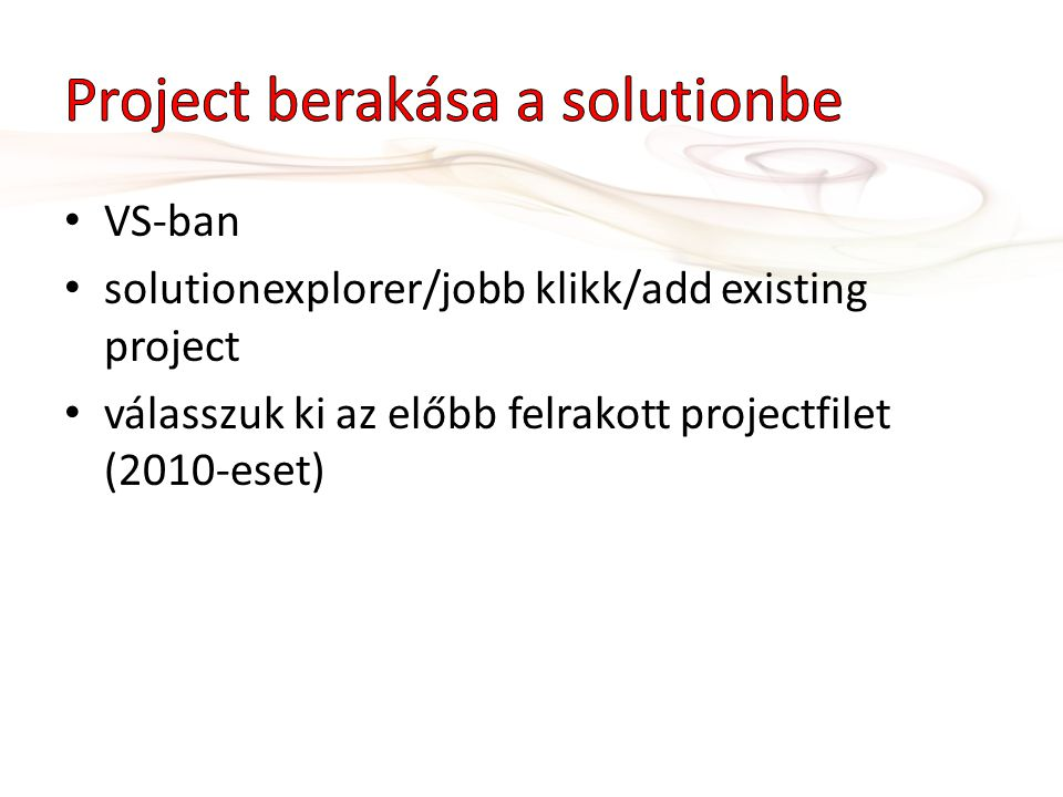 Project berakása a solutionbe