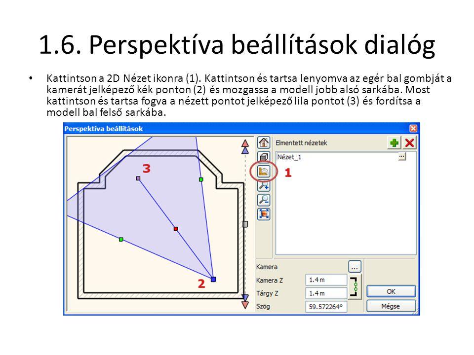 1.6. Perspektíva beállítások dialóg