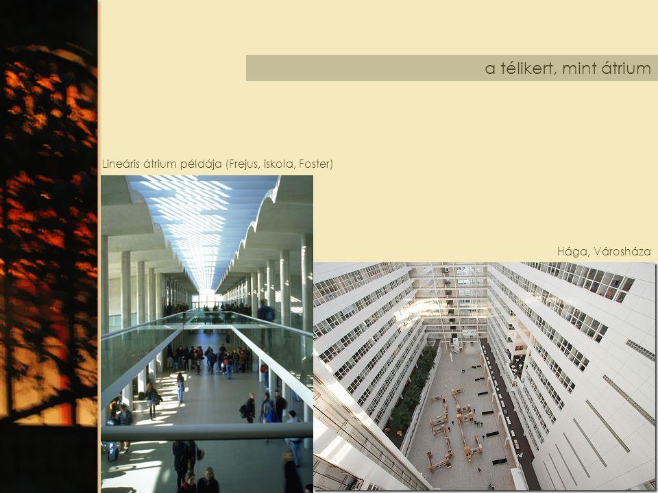 a télikert, mint átrium Lineáris átrium példája (Frejus, iskola, Foster) Hága, Városháza