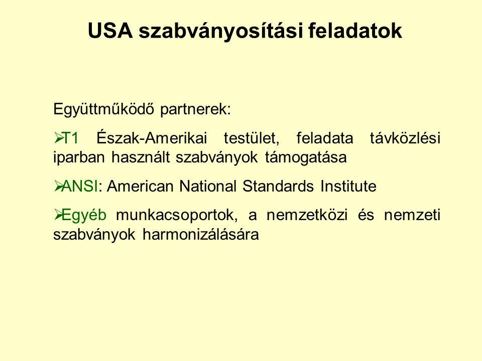 USA szabványosítási feladatok