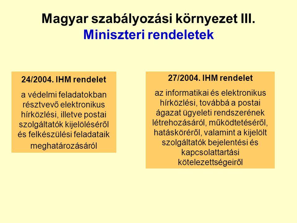 Magyar szabályozási környezet III. Miniszteri rendeletek