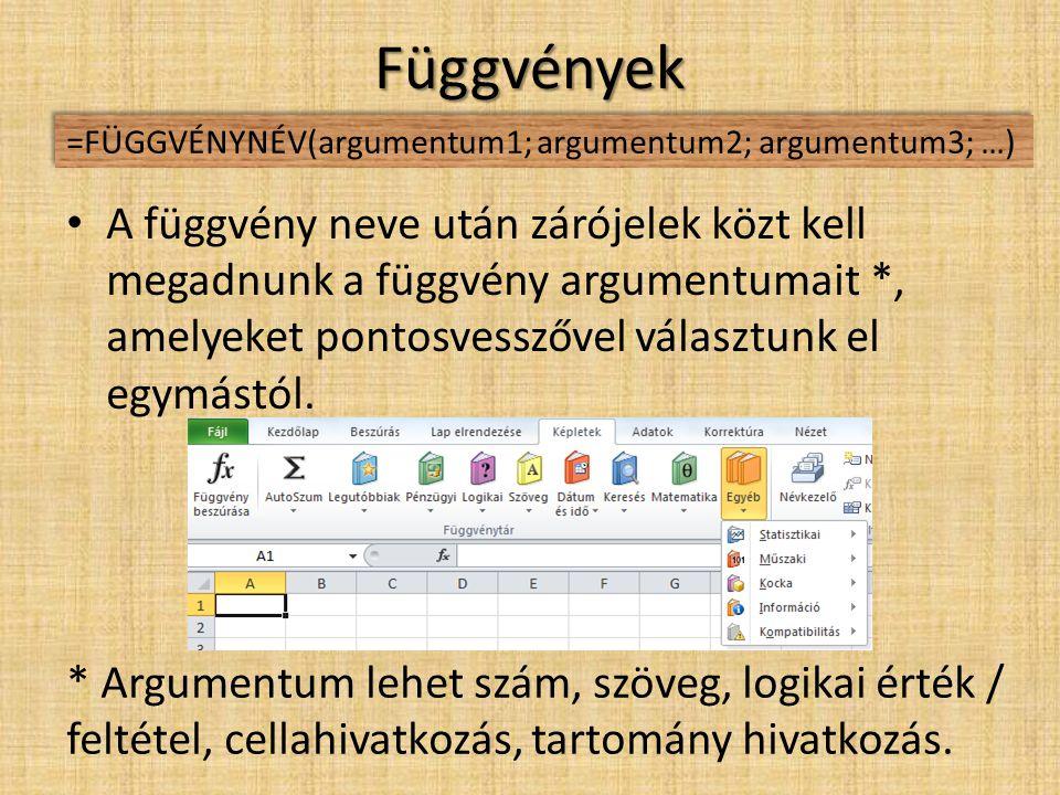 Függvények =FÜGGVÉNYNÉV(argumentum1; argumentum2; argumentum3; …)
