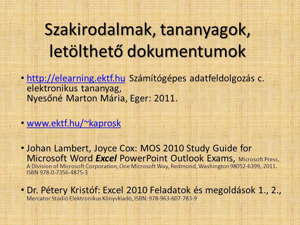 Szakirodalmak, tananyagok, letölthető dokumentumok