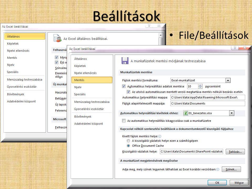 Beállítások File/Beállítások