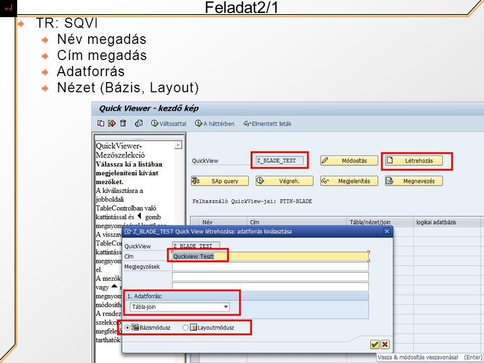 Feladat2/1 TR: SQVI Név megadás Cím megadás Adatforrás