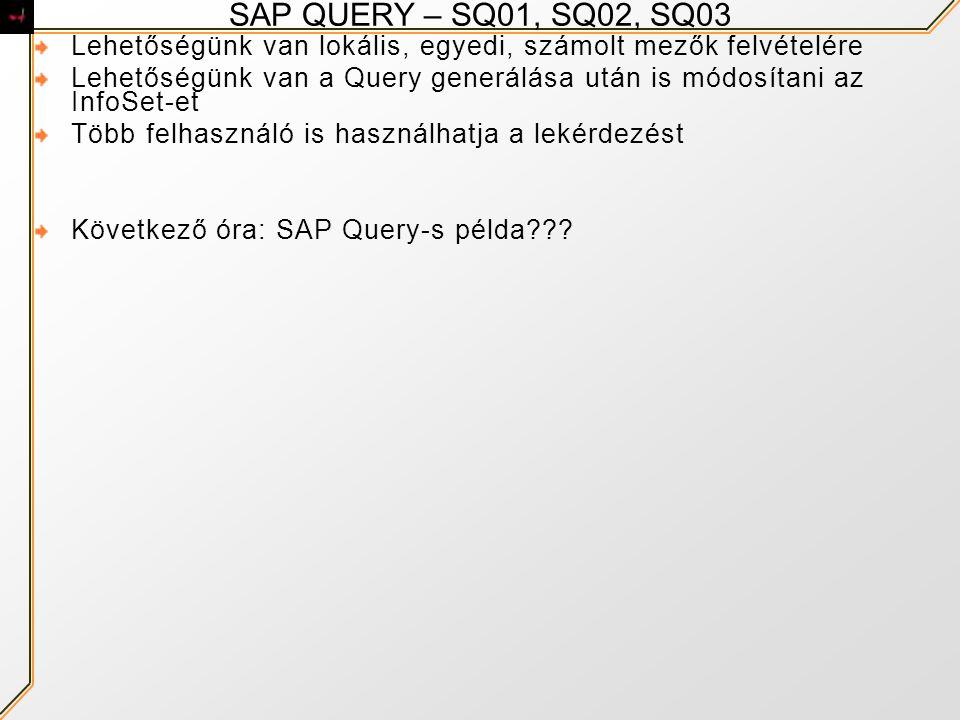 SAP QUERY – SQ01, SQ02, SQ03 Lehetőségünk van lokális, egyedi, számolt mezők felvételére.