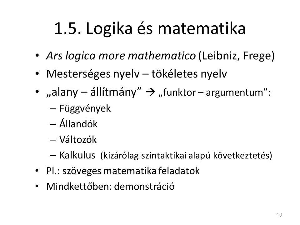 1.5. Logika és matematika Ars logica more mathematico (Leibniz, Frege)