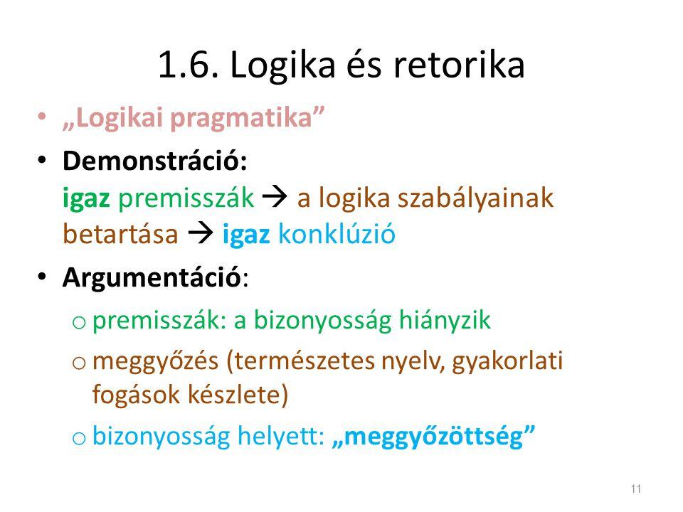 """1.6. Logika és retorika """"Logikai pragmatika"""
