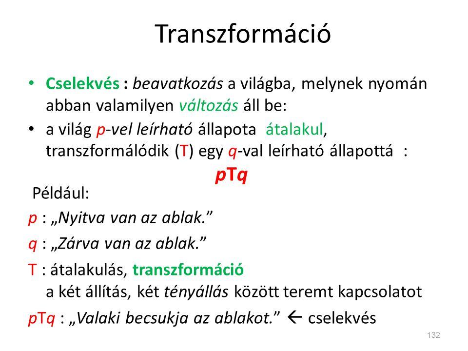 Transzformáció Cselekvés : beavatkozás a világba, melynek nyomán abban valamilyen változás áll be: