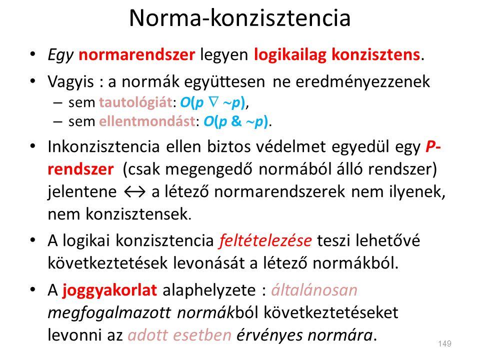 Norma-konzisztencia Egy normarendszer legyen logikailag konzisztens.