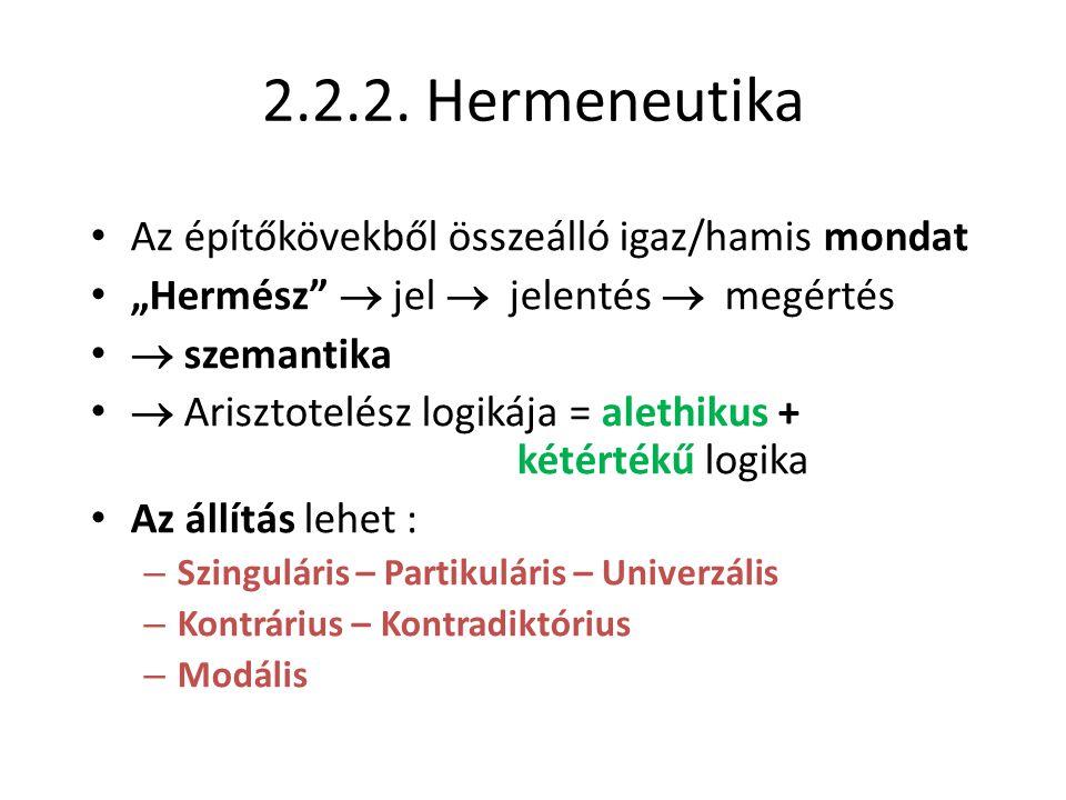 2.2.2. Hermeneutika Az építőkövekből összeálló igaz/hamis mondat