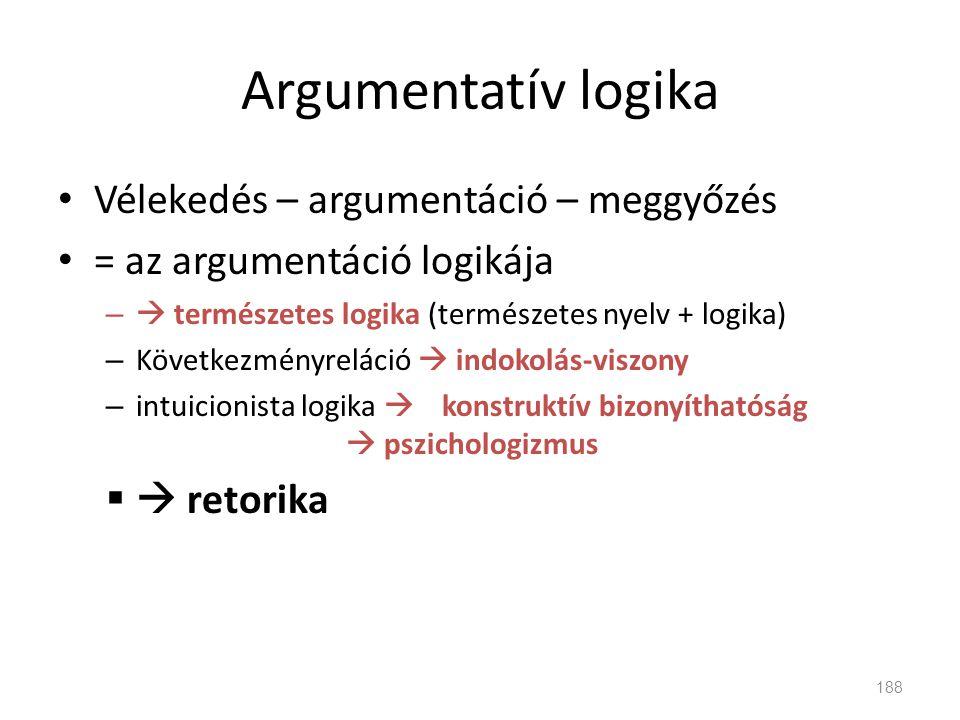 Argumentatív logika Vélekedés – argumentáció – meggyőzés