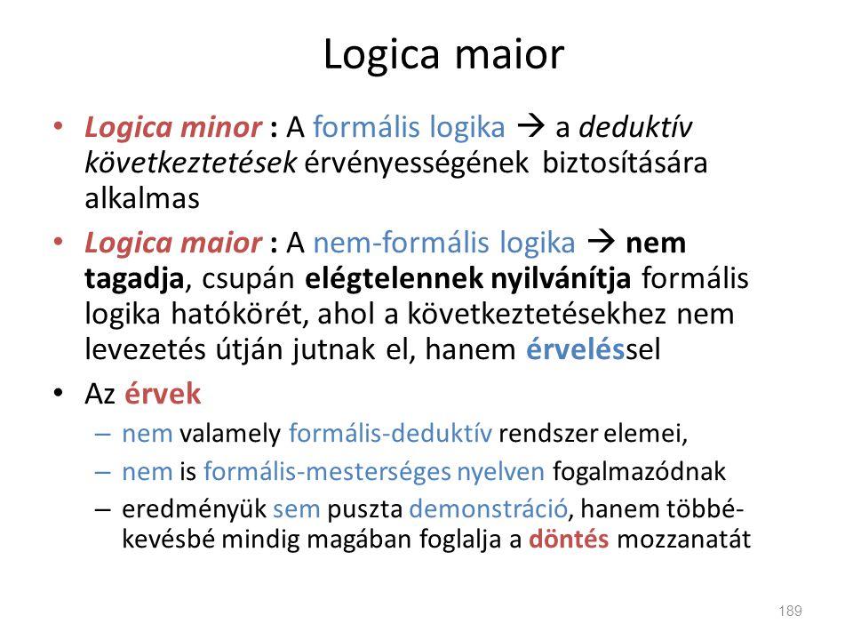 Logica maior Logica minor : A formális logika  a deduktív következtetések érvényességének biztosítására alkalmas.