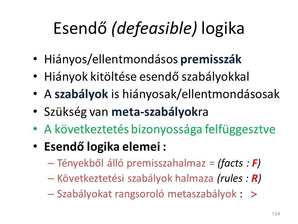 Esendő (defeasible) logika