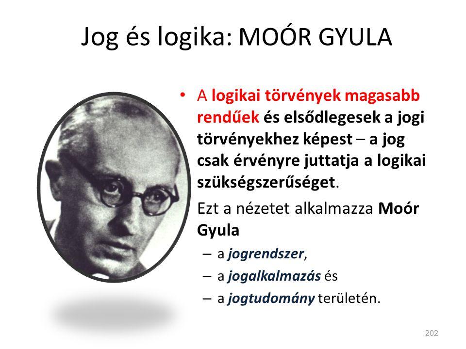 Jog és logika: MOÓR GYULA