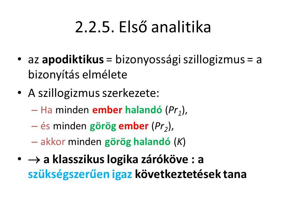 2.2.5. Első analitika az apodiktikus = bizonyossági szillogizmus = a bizonyítás elmélete. A szillogizmus szerkezete: