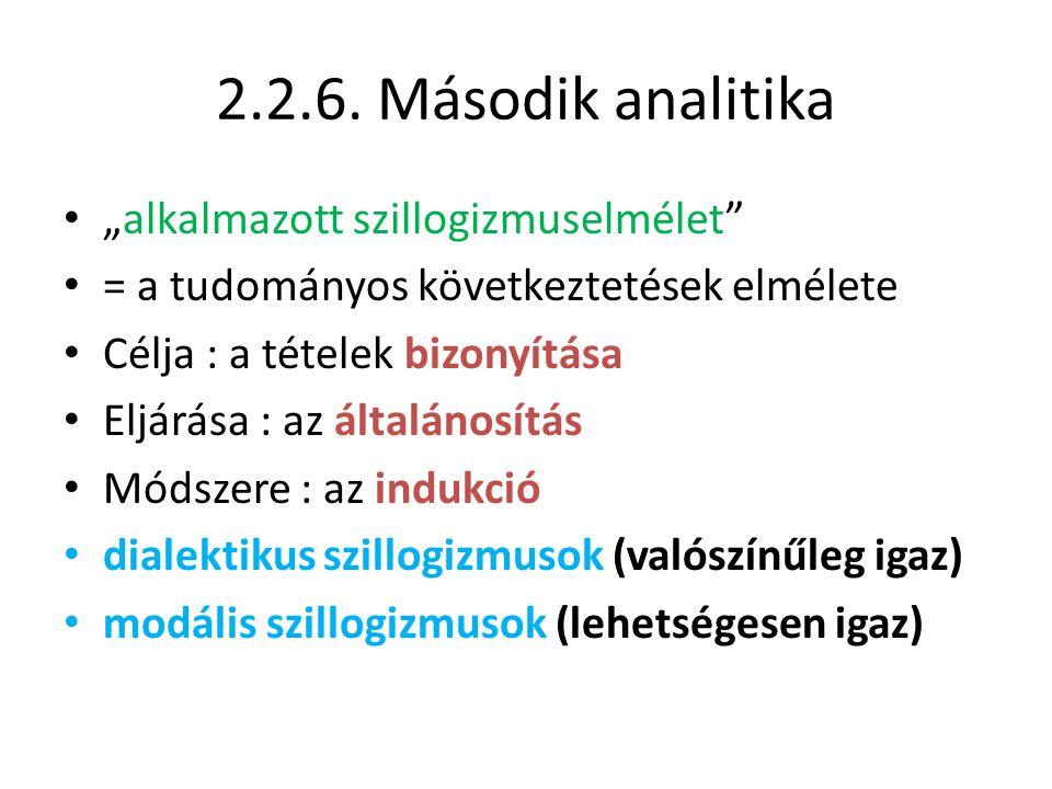 """2.2.6. Második analitika """"alkalmazott szillogizmuselmélet"""