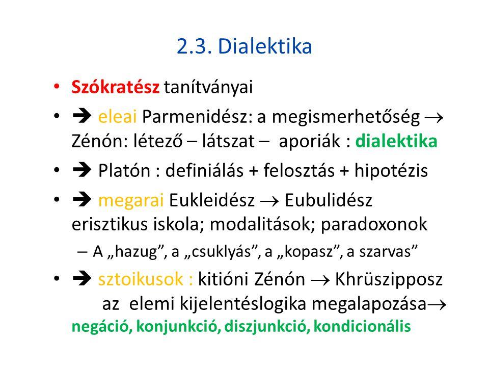 2.3. Dialektika Szókratész tanítványai
