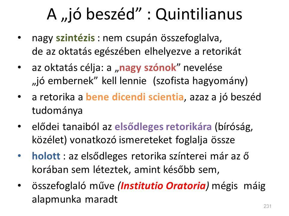 "A ""jó beszéd : Quintilianus"