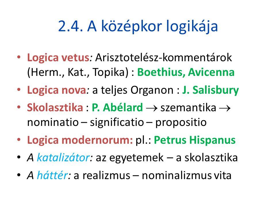 2.4. A középkor logikája Logica vetus: Arisztotelész-kommentárok (Herm., Kat., Topika) : Boethius, Avicenna.