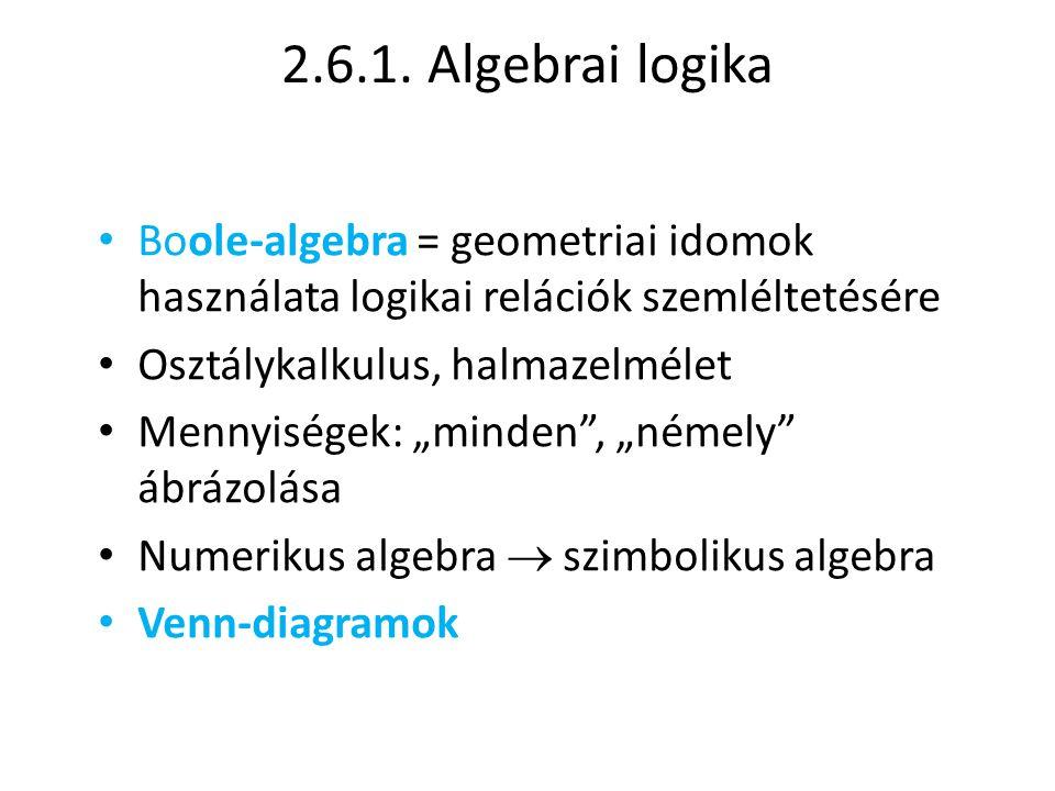 2.6.1. Algebrai logika Boole-algebra = geometriai idomok használata logikai relációk szemléltetésére.