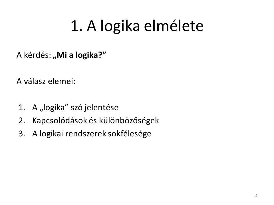 """1. A logika elmélete A kérdés: """"Mi a logika A válasz elemei:"""