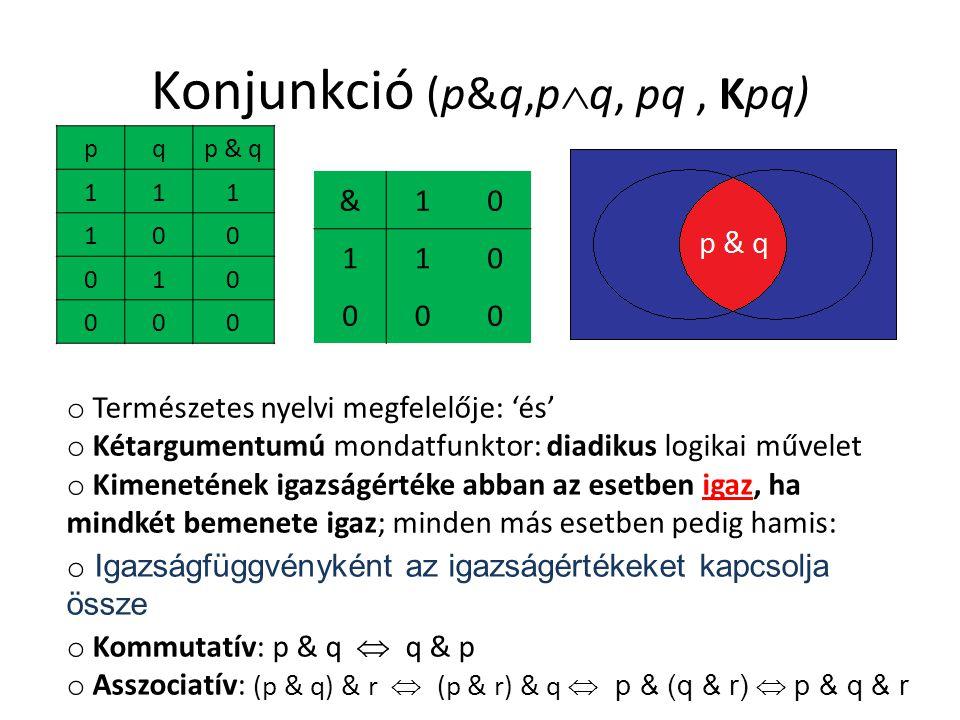 Konjunkció (p&q,pq, pq , Kpq)