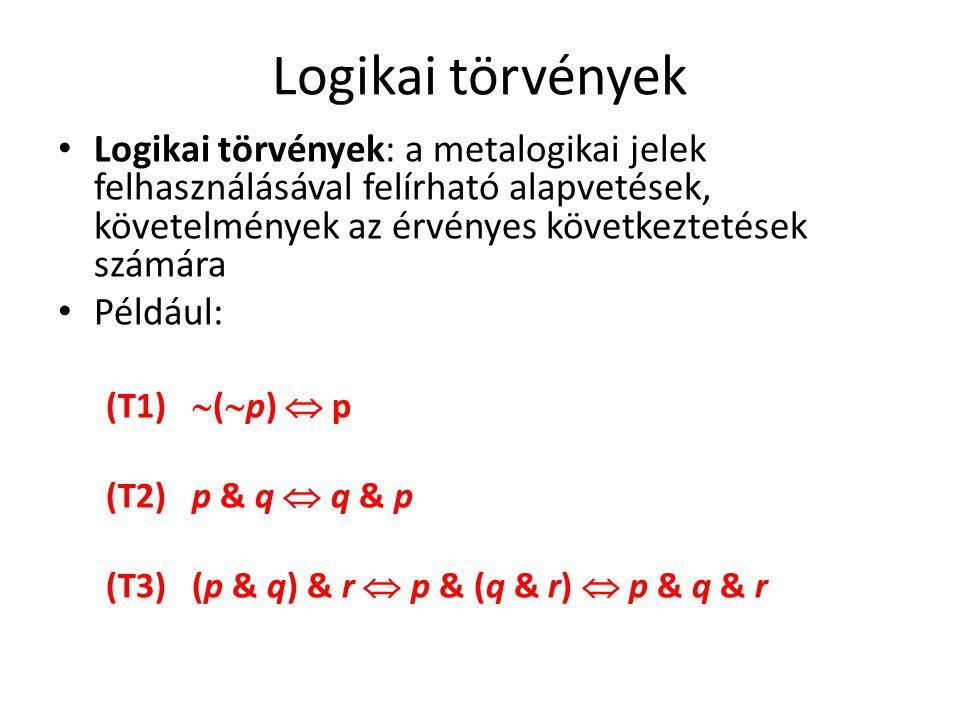 Logikai törvények Logikai törvények: a metalogikai jelek felhasználásával felírható alapvetések, követelmények az érvényes következtetések számára.